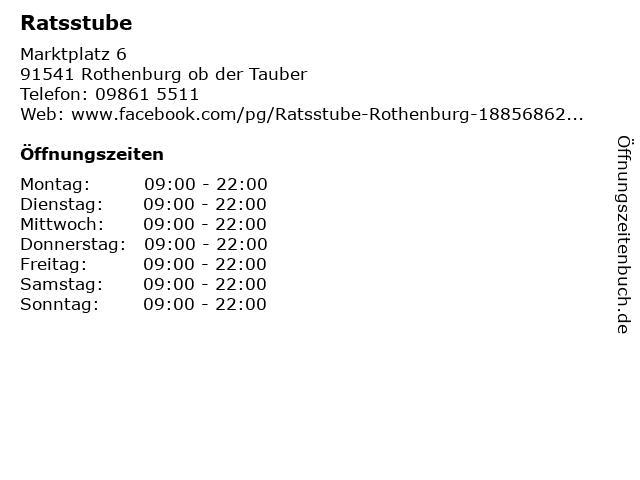 Ratsstube in Rothenburg ob der Tauber: Adresse und Öffnungszeiten