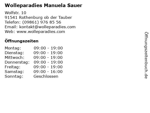 Wolleparadies Manuela Sauer in Rothenburg ob der Tauber: Adresse und Öffnungszeiten