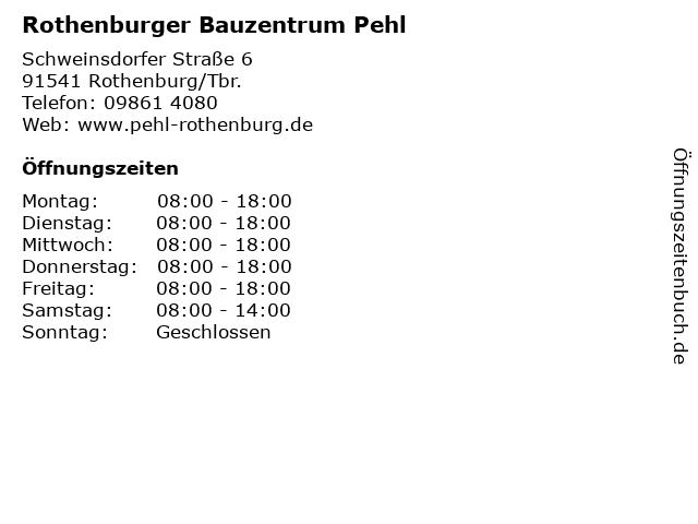 Rothenburger Bauzentrum Pehl in Rothenburg/Tbr.: Adresse und Öffnungszeiten