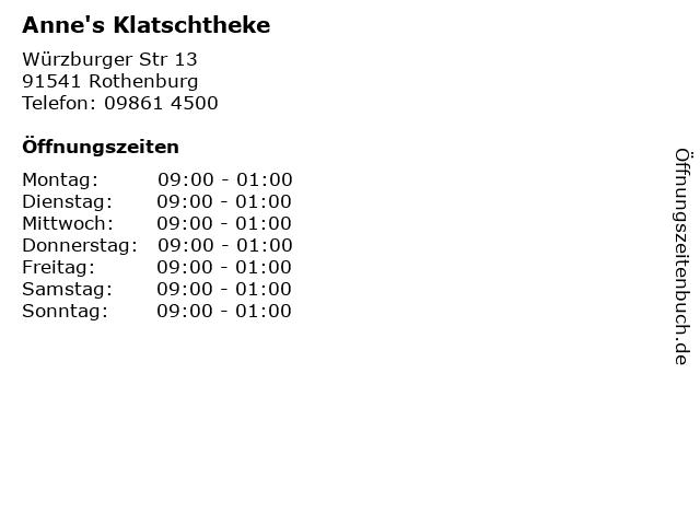 Anne's Klatschtheke in Rothenburg: Adresse und Öffnungszeiten
