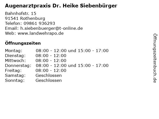 Augenarztpraxis im Zentro - Dr. med. Heike Siebenbürger in Rothenburg ob der Tauber: Adresse und Öffnungszeiten