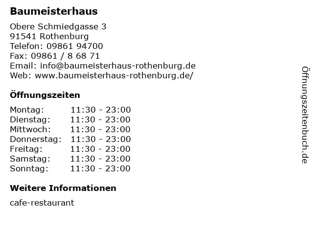 Baumeisterhaus in Rothenburg: Adresse und Öffnungszeiten