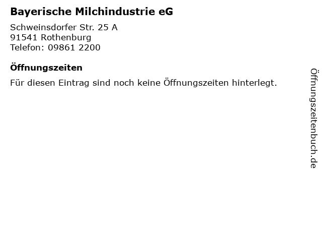 Bayerische Milchindustrie eG in Rothenburg: Adresse und Öffnungszeiten