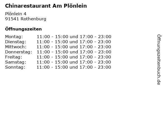 Chinarestaurant Am Plönlein in Rothenburg: Adresse und Öffnungszeiten
