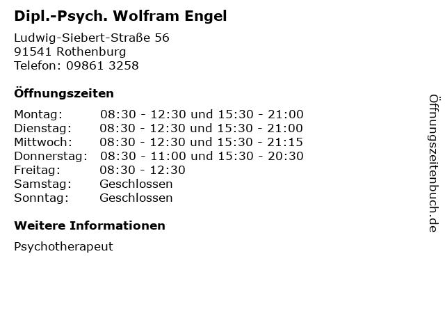 Dipl.-Psych. Wolfram Engel in Rothenburg: Adresse und Öffnungszeiten