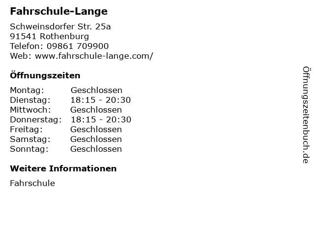 Fahrschule-Lange in Rothenburg: Adresse und Öffnungszeiten