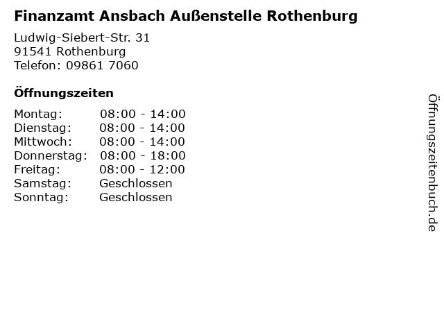Finanzamt Ansbach Außenstelle Rothenburg in Rothenburg: Adresse und Öffnungszeiten