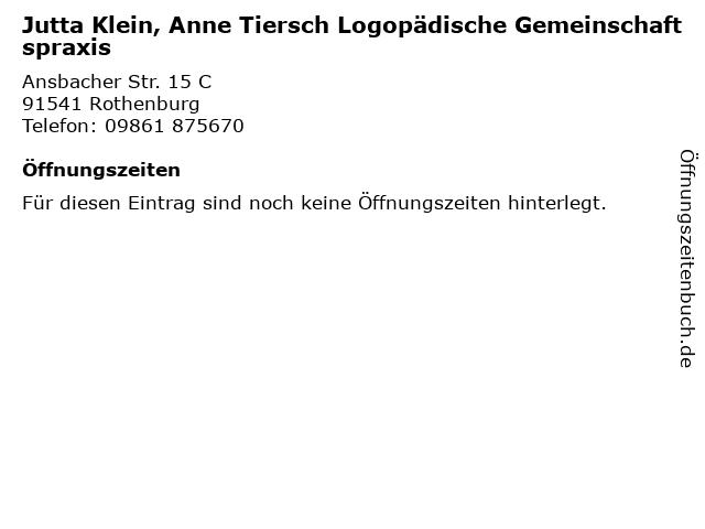 Jutta Klein, Anne Tiersch Logopädische Gemeinschaftspraxis in Rothenburg: Adresse und Öffnungszeiten