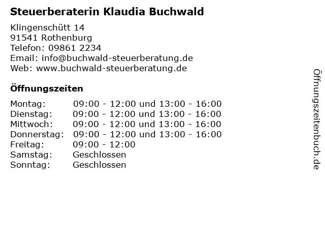 Klaudia Buchwald Steuerberaterin in Rothenburg: Adresse und Öffnungszeiten