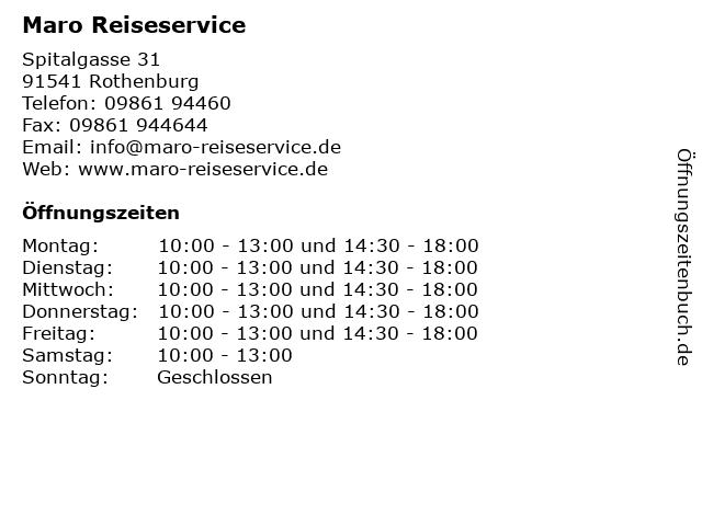 Maro Reiseservice in Rothenburg: Adresse und Öffnungszeiten