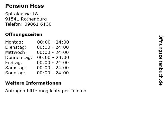 Pension Hess in Rothenburg: Adresse und Öffnungszeiten