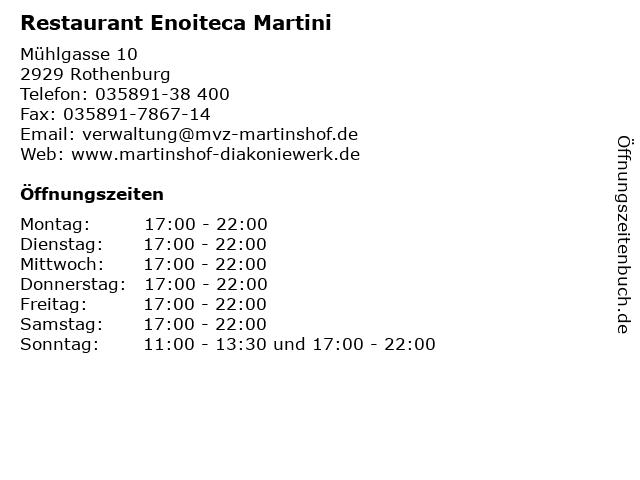 Restaurant Enoiteca Martini in Rothenburg: Adresse und Öffnungszeiten