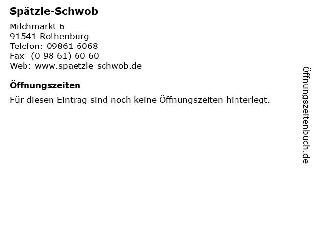Spätzle-Schwob in Rothenburg: Adresse und Öffnungszeiten