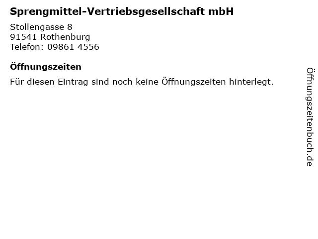 Sprengmittel-Vertriebsgesellschaft mbH in Rothenburg: Adresse und Öffnungszeiten