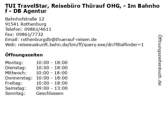 TUI TravelStar, Reisebüro Thürauf OHG, - Im Bahnhof - DB Agentur in Rothenburg: Adresse und Öffnungszeiten