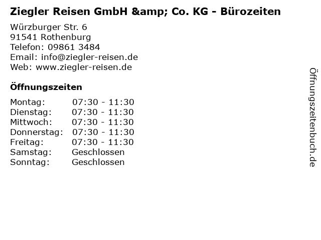 Ziegler Reisen GmbH & Co. KG - Bürozeiten in Rothenburg: Adresse und Öffnungszeiten