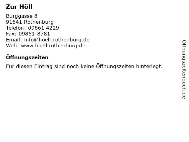 Zur Höll in Rothenburg: Adresse und Öffnungszeiten