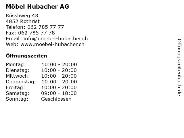 ᐅ öffnungszeiten Möbel Hubacher Ag Rössliweg 43 In Rothrist
