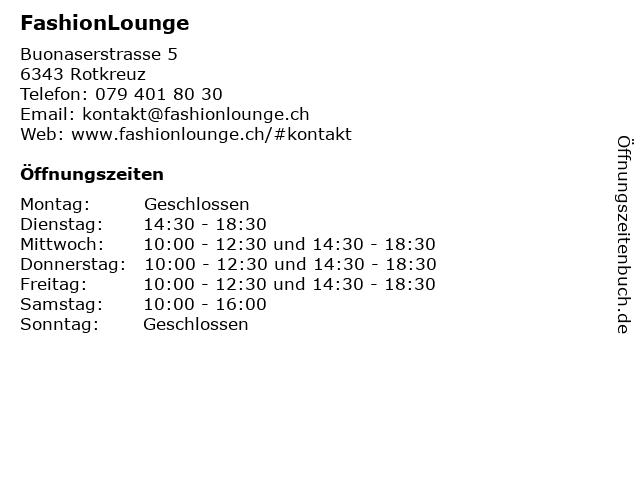 FashionLounge in Rotkreuz: Adresse und Öffnungszeiten