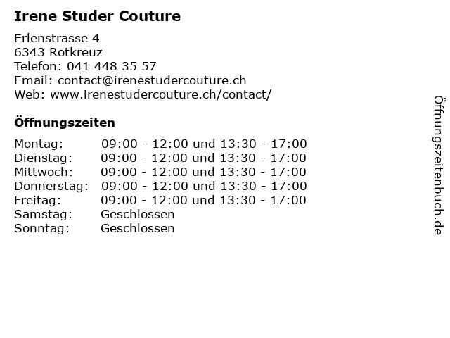 Irene Studer Couture in Rotkreuz: Adresse und Öffnungszeiten