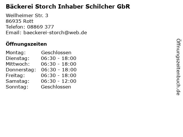 Bäckerei Storch Inhaber Schilcher GbR in Rott: Adresse und Öffnungszeiten