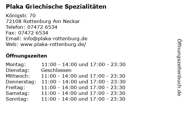 Plaka Griechische Spezialitäten in Rottenburg Am Neckar: Adresse und Öffnungszeiten