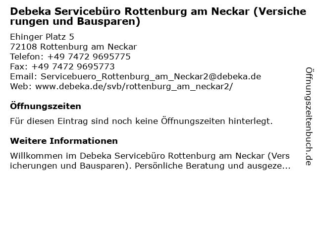 Debeka Servicebüro Rottenburg am Neckar (Versicherungen und Bausparen) in Rottenburg am Neckar: Adresse und Öffnungszeiten