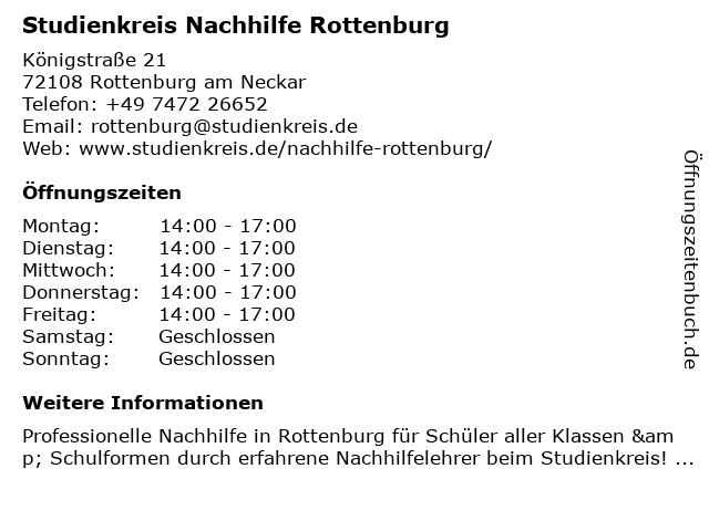 Studienkreis Nachhilfe Rottenburg in Rottenburg am Neckar: Adresse und Öffnungszeiten