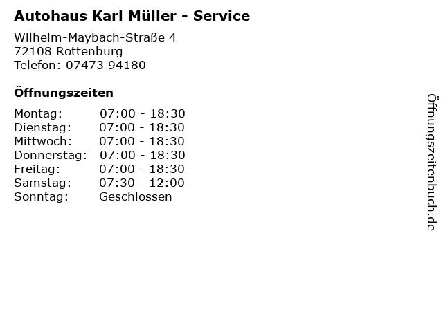 Autohaus Karl Müller - Service in Rottenburg: Adresse und Öffnungszeiten
