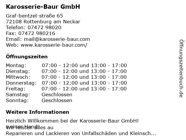 Bernhard Baur Karosserie- und Lackierbetrieb in Rottenburg: Adresse und Öffnungszeiten
