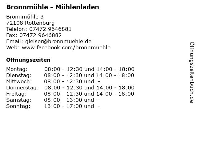 Bronnmühle - Mühlenladen in Rottenburg: Adresse und Öffnungszeiten