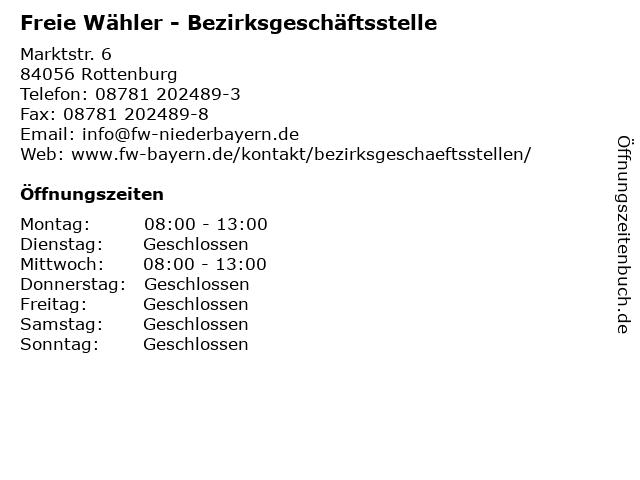 Freie Wähler - Bezirksgeschäftsstelle in Rottenburg: Adresse und Öffnungszeiten