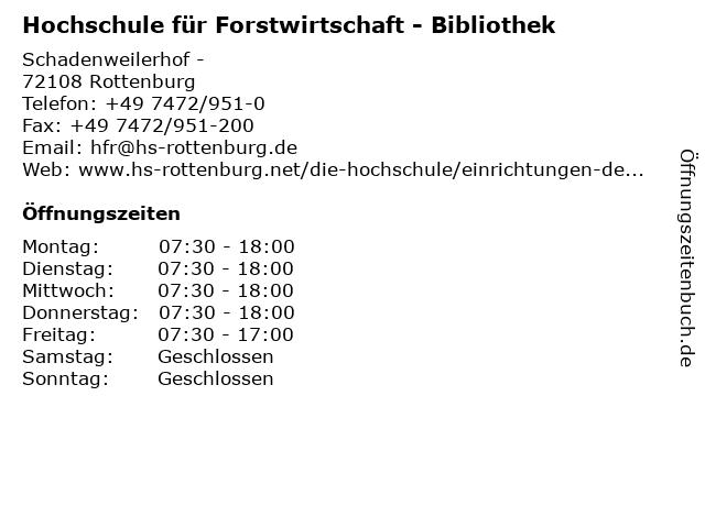 Hochschule für Forstwirtschaft - Bibliothek in Rottenburg: Adresse und Öffnungszeiten