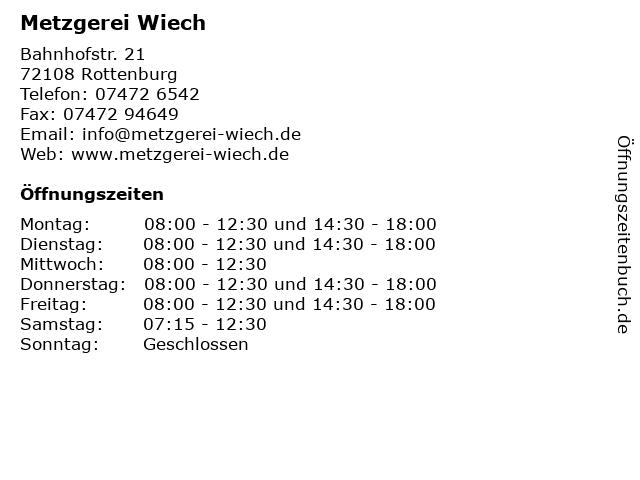 Metzgerei Wiech in Rottenburg: Adresse und Öffnungszeiten