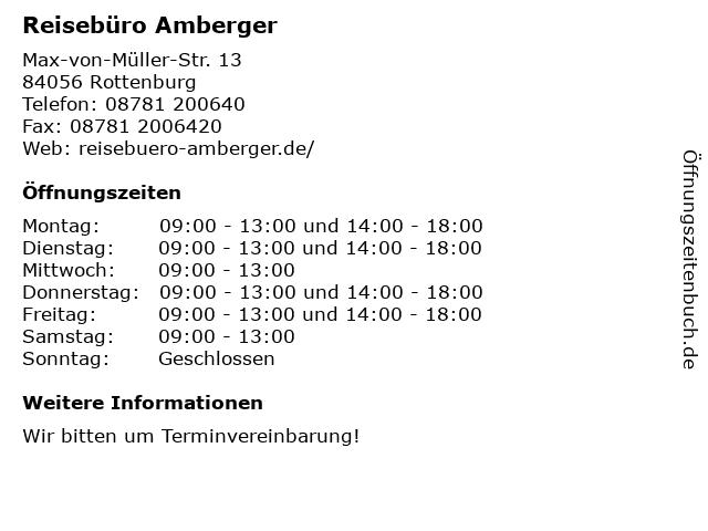 Reisebüro Amberger in Rottenburg: Adresse und Öffnungszeiten