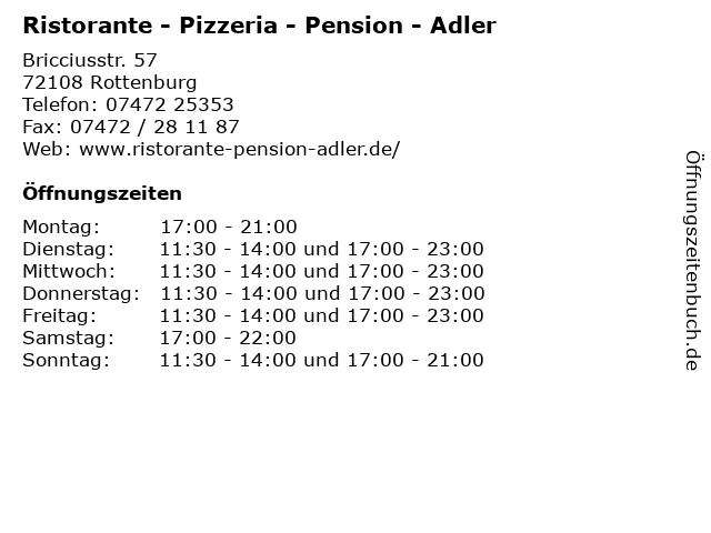 Ristorante - Pizzeria - Pension - Adler in Rottenburg: Adresse und Öffnungszeiten