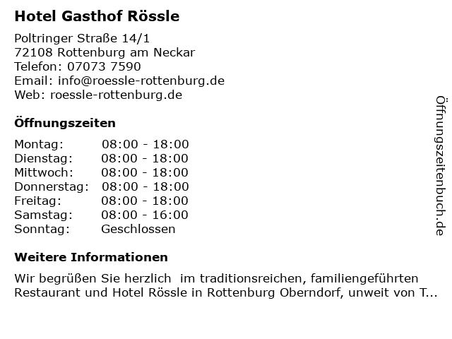 Rössle Gasthof in Rottenburg: Adresse und Öffnungszeiten