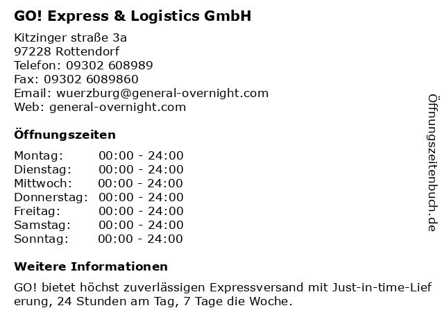 GO! Express & Logistics GmbH in Rottendorf: Adresse und Öffnungszeiten