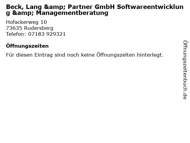 Beck, Lang & Partner GmbH Softwareentwicklung & Managementberatung in Rudersberg: Adresse und Öffnungszeiten