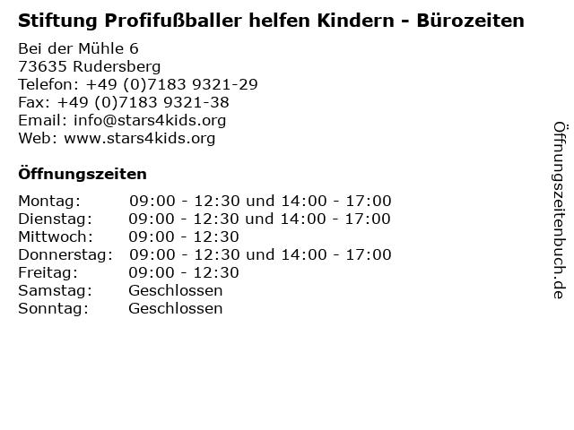 Stiftung Profifußballer helfen Kindern - Bürozeiten in Rudersberg: Adresse und Öffnungszeiten