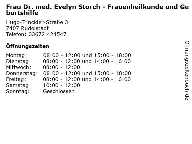 Frau Dr. med. Evelyn Storch - Frauenheilkunde und Geburtshilfe in Rudolstadt: Adresse und Öffnungszeiten