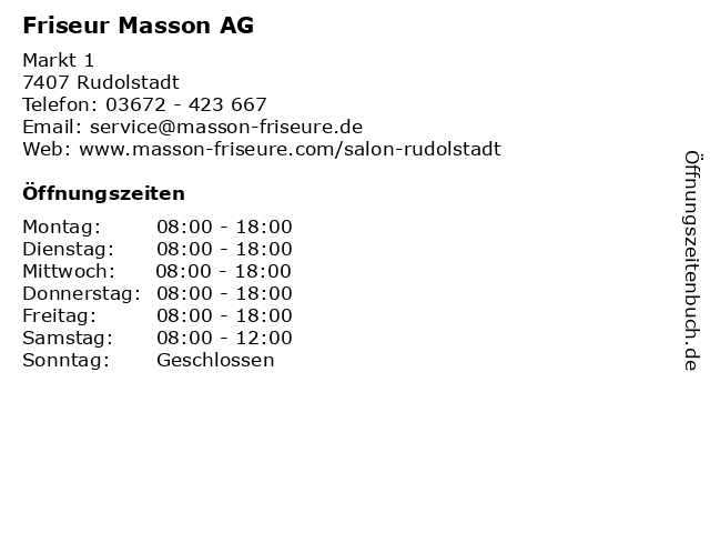Friseur Masson AG in Rudolstadt: Adresse und Öffnungszeiten