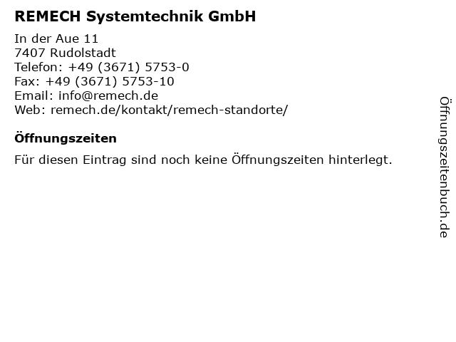 REMECH Systemtechnik GmbH in Rudolstadt: Adresse und Öffnungszeiten