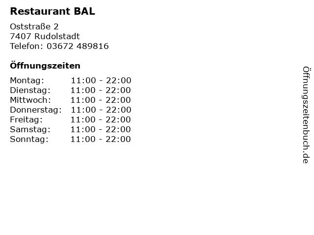 Restaurant BAL in Rudolstadt: Adresse und Öffnungszeiten