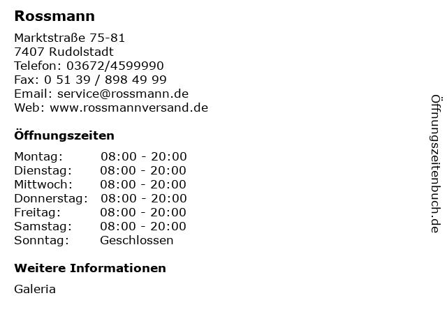 Dirk Rossmann GmbH in Rudolstadt: Adresse und Öffnungszeiten