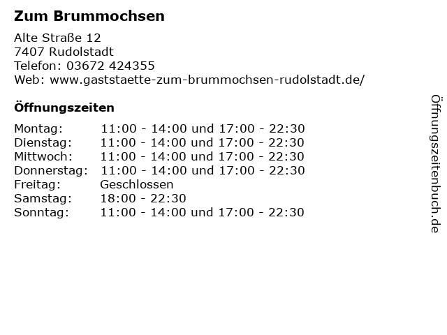 Zum Brummochsen in Rudolstadt: Adresse und Öffnungszeiten