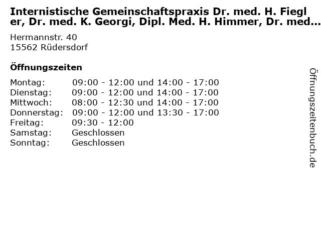 Internistische Gemeinschaftspraxis Dr. med. H. Fiegler, Dr. med. K. Georgi, Dipl. Med. H. Himmer, Dr. med. J. Fleck in Rüdersdorf: Adresse und Öffnungszeiten