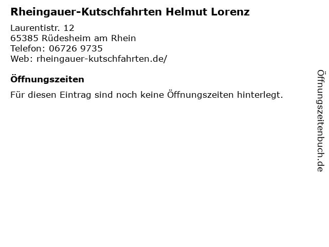 Rheingauer-Kutschfahrten Helmut Lorenz in Rüdesheim am Rhein: Adresse und Öffnungszeiten