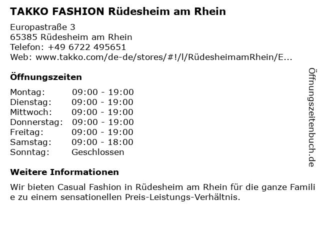 Takko Fashion in Rüdesheim am Rhein: Adresse und Öffnungszeiten