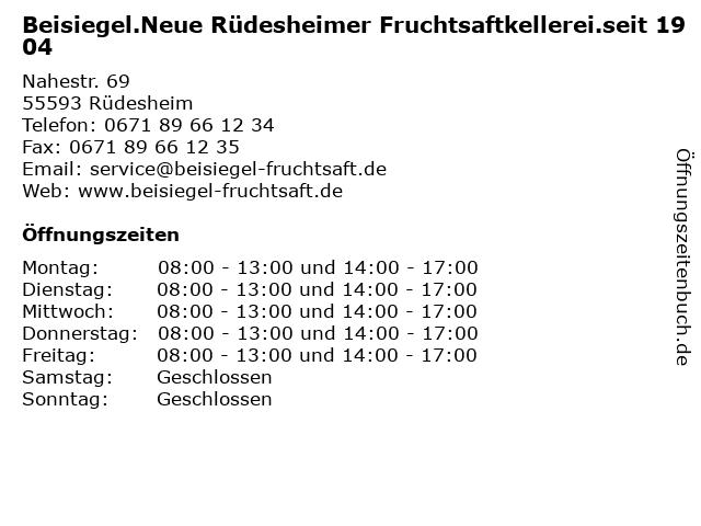 Beisiegel.Neue Rüdesheimer Fruchtsaftkellerei.seit 1904 in Rüdesheim: Adresse und Öffnungszeiten
